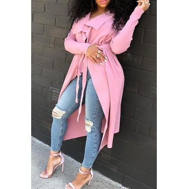 Lovely Casual Long Sleeves Pink Trench Coats