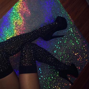 Lovely Sexy Rhinestone Decorative Black Cotton Blends Socks