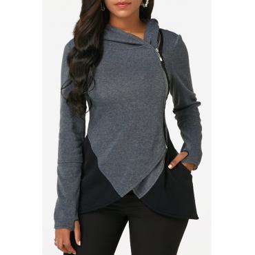 Lovely Casual Zipper Design Deep Grey Cotton Hoodies