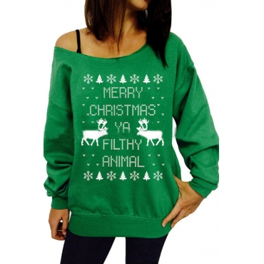 Lovely Casual Printed Green Cotton Hoodies