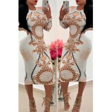 Precioso Vestido Estampado Informal De Punto Medio De Becerro Blanco