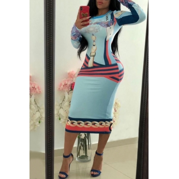 Lovely Casual Printed Blue Knitting  Mid Calf Dress