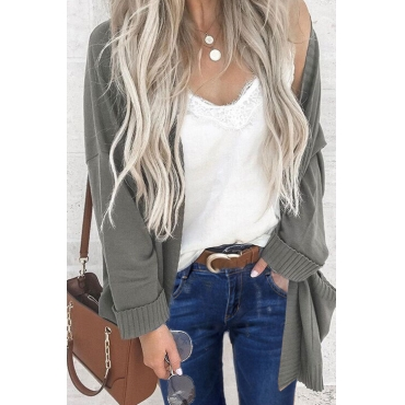 Lovely Casual Long Sleeves Grey Cardigan Sweaters