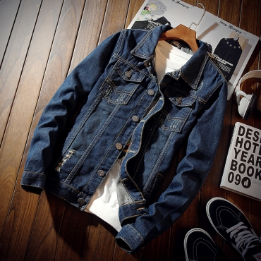 Lovely Casual Buttons Decorative Blue Denim Jacket