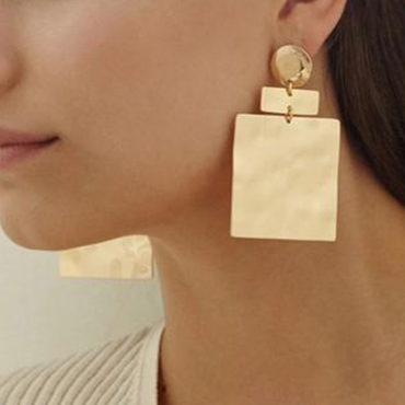 Lovely Casual Square Gold Metal Earring