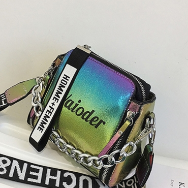 Lovely Casual Letters Printed Multicolor  PU Messenger