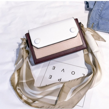 Lovely Casual Patchwork Wine Red PU Messenger