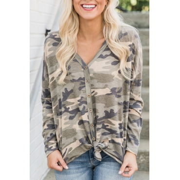 Lovely Casual Camouflage Printed  T-shirt