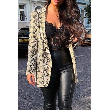 Lovely Casual Long Sleeves Printed Brown Coat