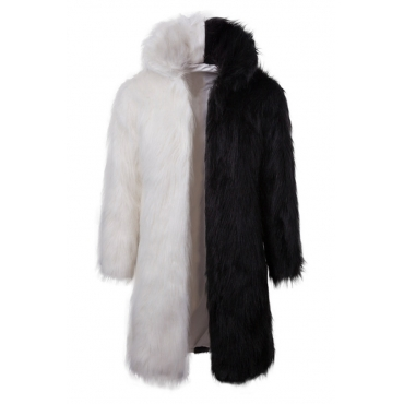 Lovely Euramerican Patchwork Black And White Faux Fur Coat