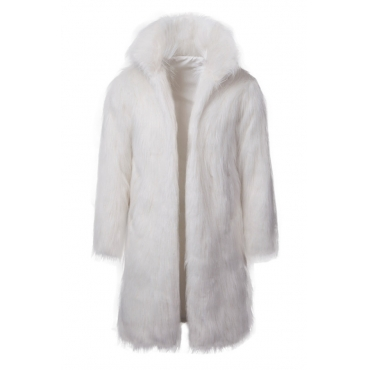 Lovely Euramerican Long Sleeves White Faux Fur Coat