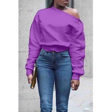 Lovely Trendy Long Sleeves Purple Sweats