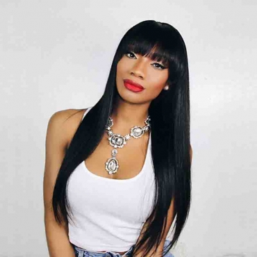 Lovely African Long Black Straight Wigs