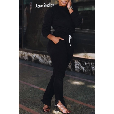 Lovely Casual Lace-up Black Blending Two-pieces Pants Set