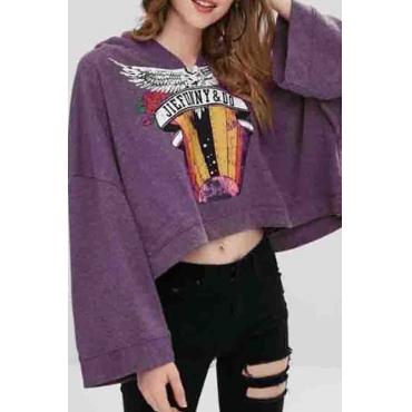 Lovely Casual Printed Purple Hoodies