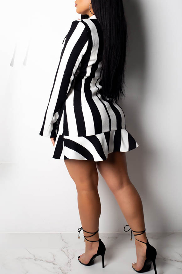 Lovely Euramerican Black and White Stripe Twilled Satin Mini Dress