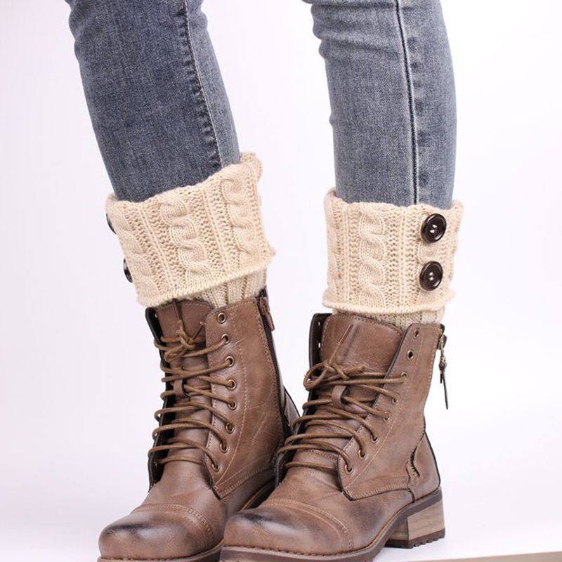Lovely Casual Button Decorative Beige Leg Warmer Socks