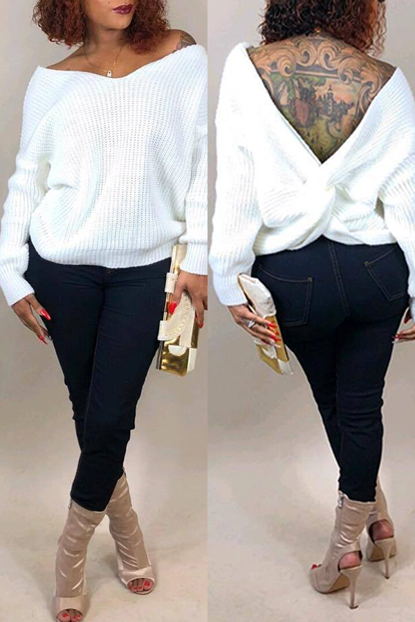 Lovely Fashion Both Sides Cross White Sweaters