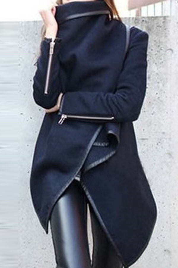 lovelywholesale / Cheap Coat&Jacket Lovely Casual Long Sleeves Irregular Dark Blue Coat