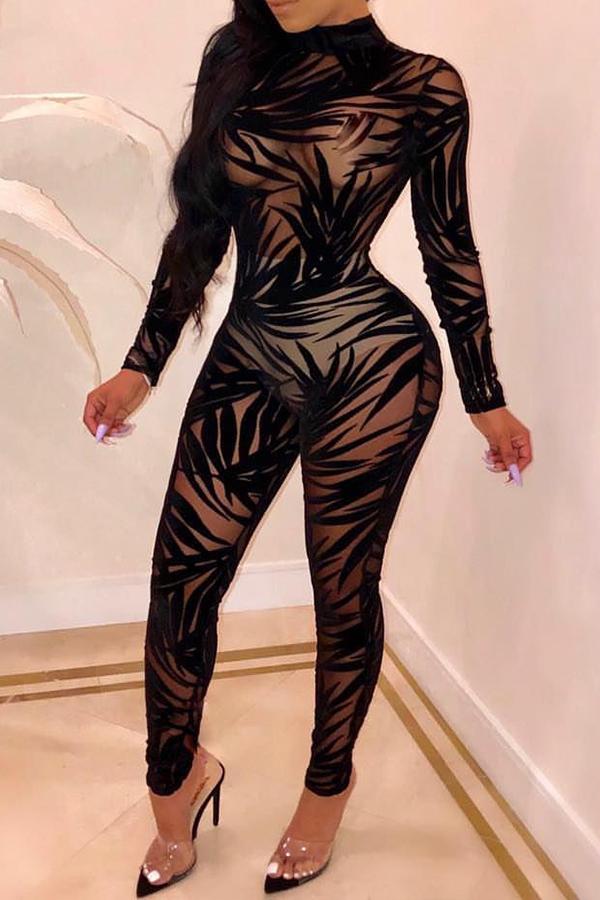 Lovely Sexy Gauze Black Blending One-piece Jumpsuit