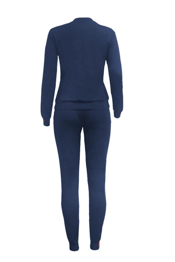 Encantador Conjunto De Pantalones De Dos Piezas De Retazos De Dos Piezas De Raso Azul De Manga Larga Casual