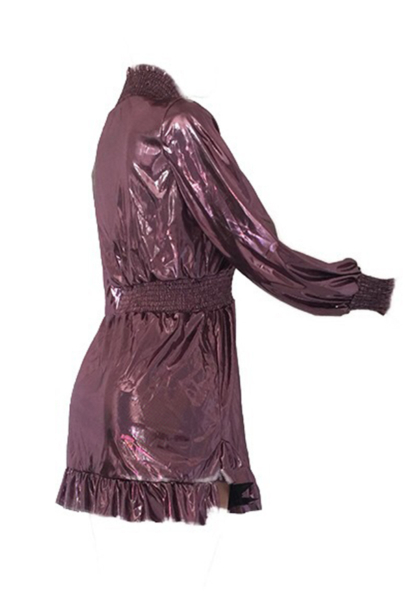 Lovely Euramerican Lantern Sleeves Rose Gold Mini Dress