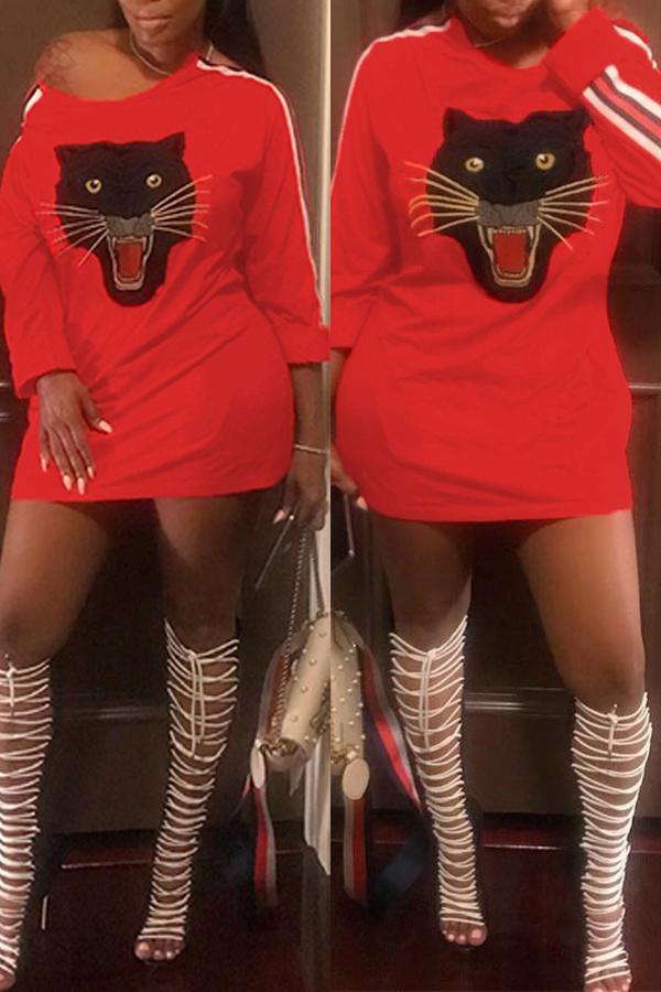 Lovely Trendy Long Sleeves Animal Prints Red Mini Dress
