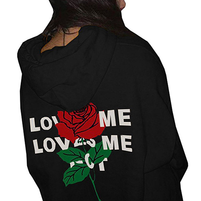 Lovely Casual Rose Print Black Cotton Hoodies