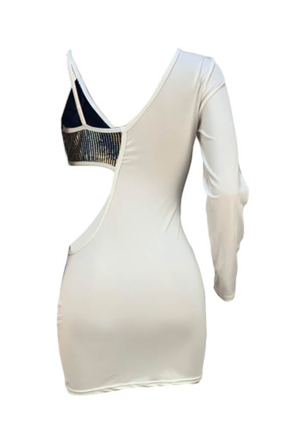 Lovely Fashion Hollow-out Patchwork White Mini Dress