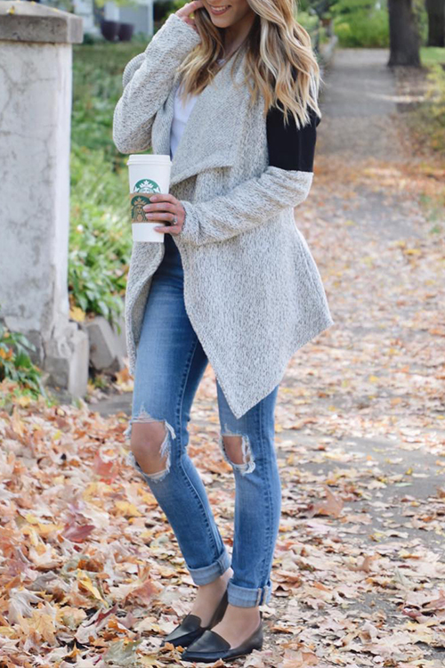 Lovely Casual Long Sleeves Patchwork Grey Cardigans
