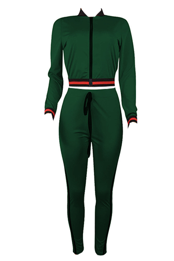 Lovely Euramerican Patchwork Skinny Green Two-piece Pants Set