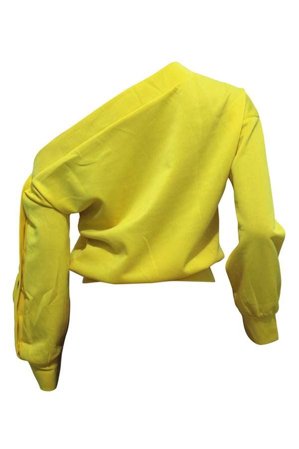 Lovely Trendy Long Sleeves Yellow Sweats