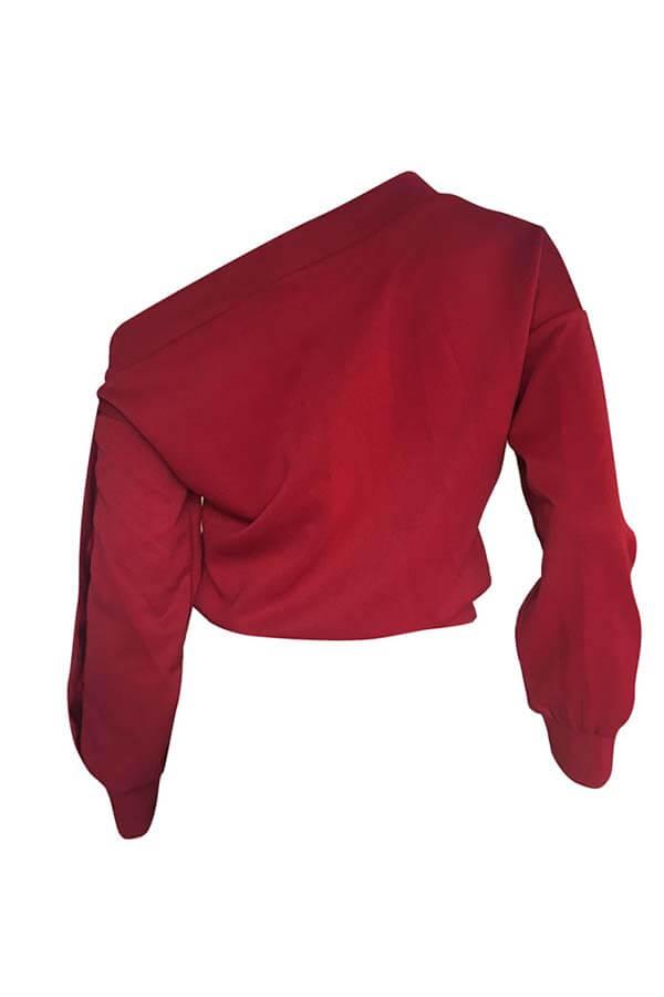 Lovely Trendy Long Sleeves Wine Red Sweats
