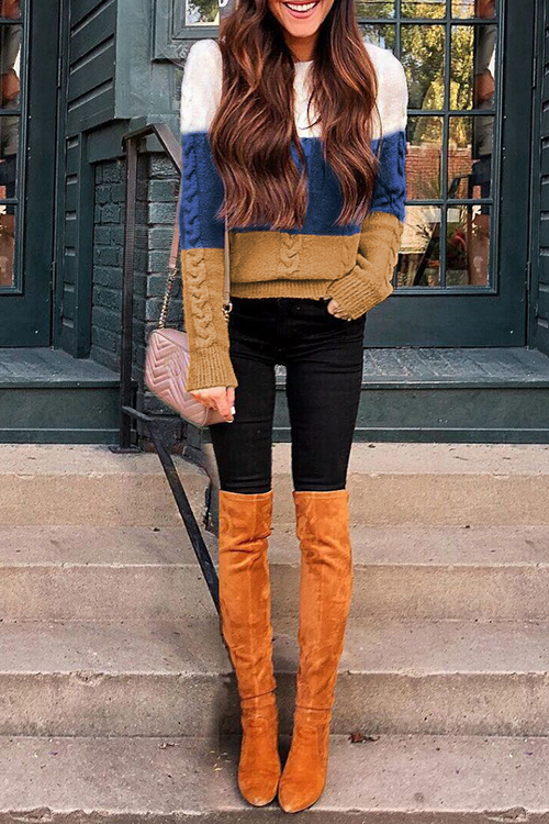 Lovely Casual Color-lump Patchwork Multicolor Sweaters