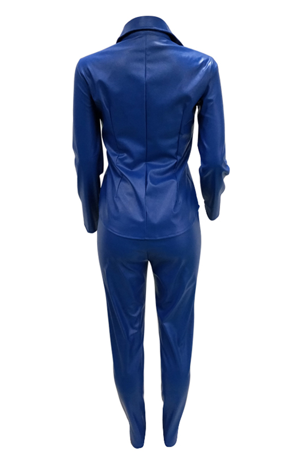 Lovely Casual Buttons Decorative Royalblue PU Two-piece Pants Set