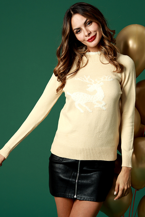 Lovely Casual Elk Pattern Apricot Cotton Blends Sweaters