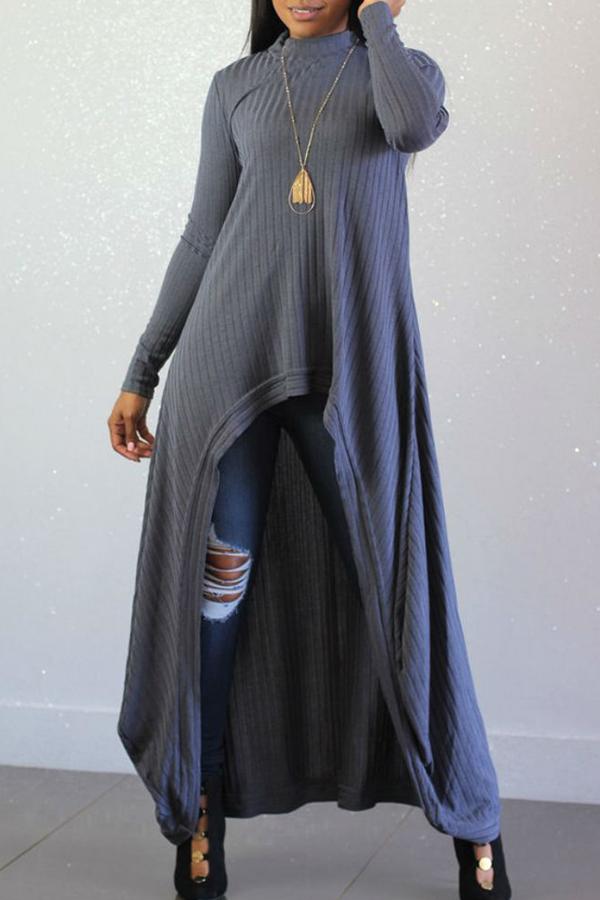 Lovely Casual Long Sleeves Irregular Grey Blending Long Sweaters