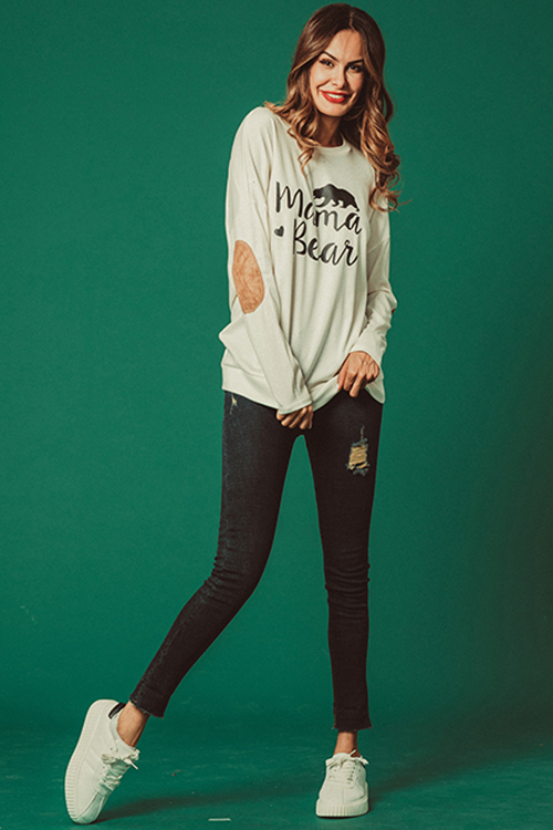 Lovely Casual Letters Printed White Modal T-shirt