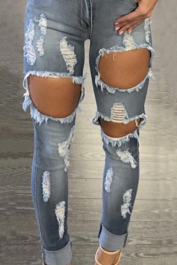 Pantalones De Mezclilla Azul Euramerican Encantadores Agujeros Rotos Alta Cintura