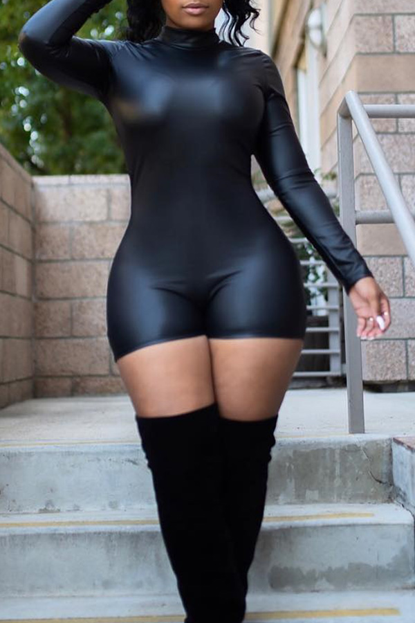 Lovely Sexy Black PU Skinny Rompers