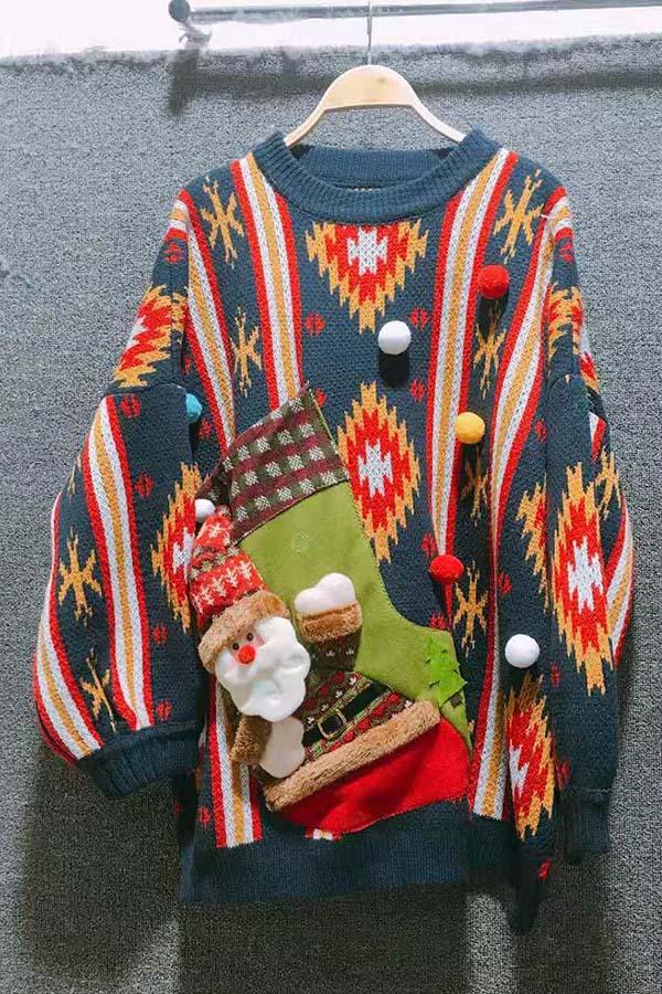 Lovely Fashion Pocket Maomao Ball Decorative Blue Cotton Sweaters