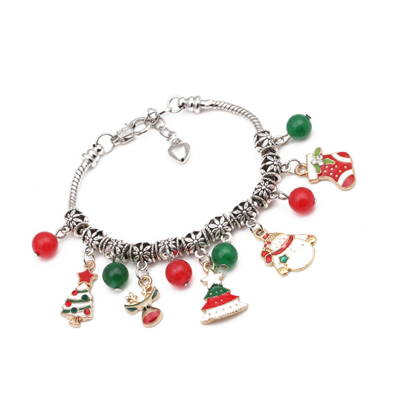 Lovely Fashion Christmas Tree Snowman Pendant Bracelet