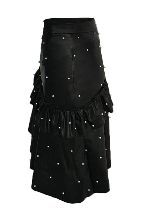Encantadora Perla Dulce Decorativa Faldas Negras De La PU