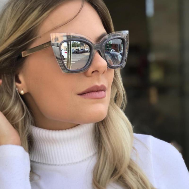Lovely Fashion Cat Eye Large Frame Grey Sunglasses