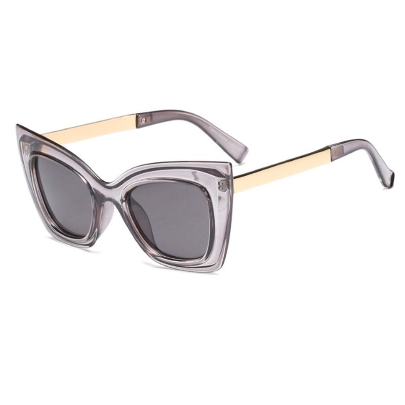 Schöne Mode Cat Eye Großen Rahmen Graue Sonnenbrille