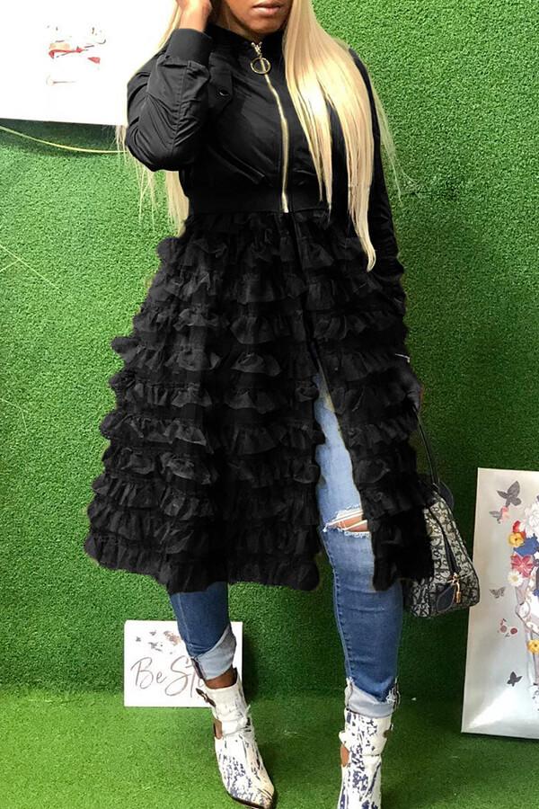 Lovely Fashion Zipper Black Long Coat