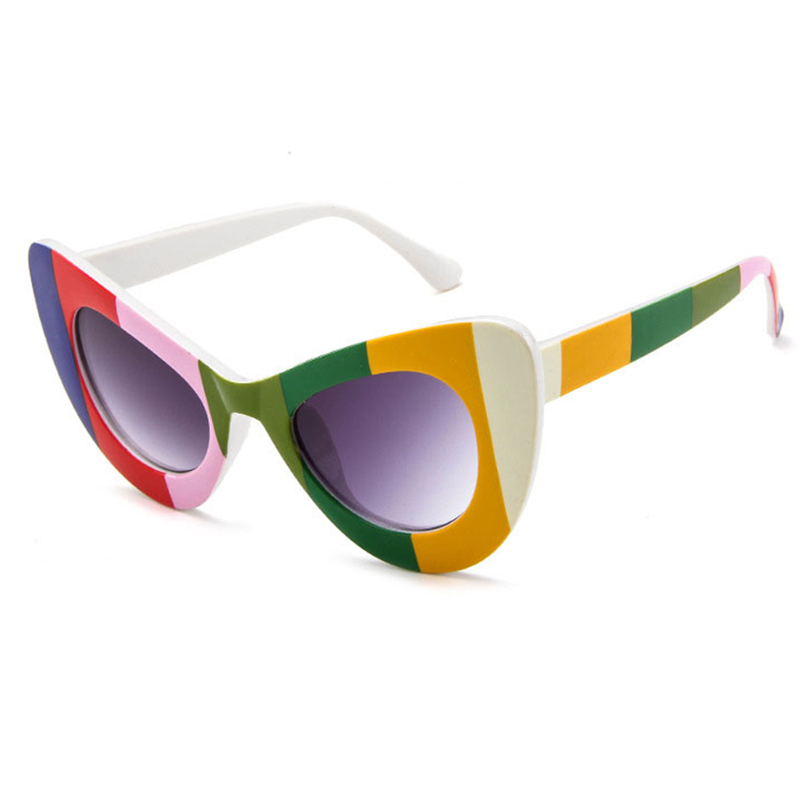 Lovely Chic Striped Frame Design Multicolor PC Sunglasses