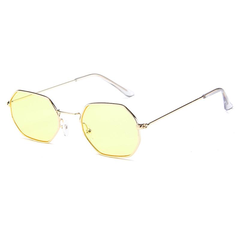 Lovely Retro  Frame Design Yellow Metal Sunglasses