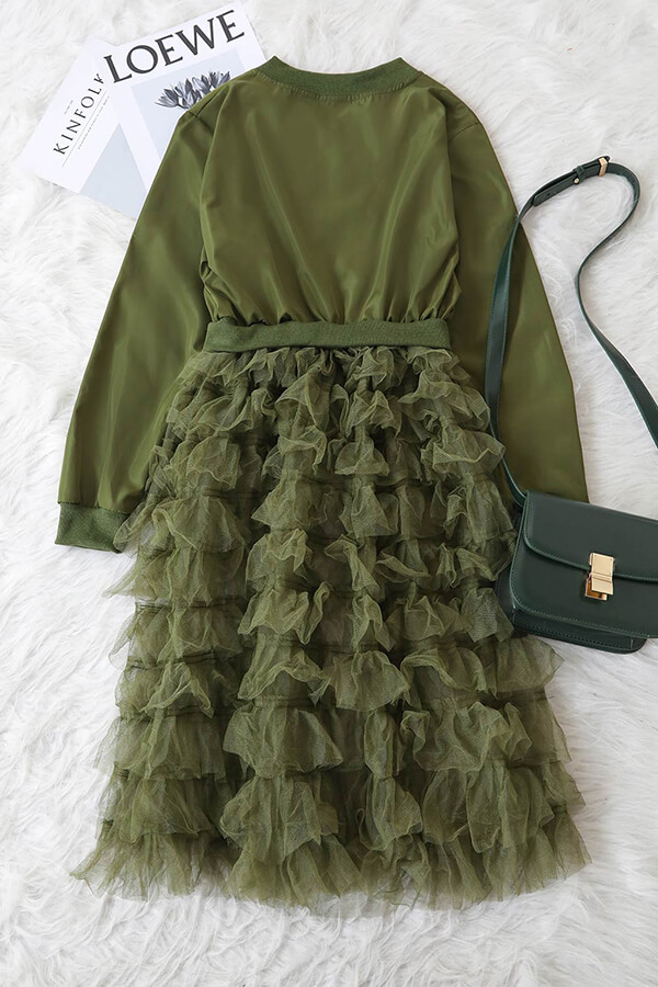 Lovely Fashion Zipper Army Green Long Coat