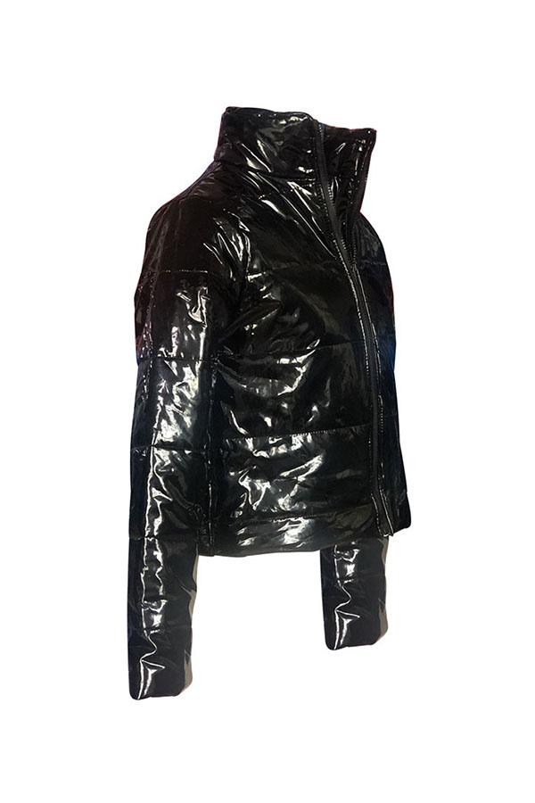 Lovely Casual Zipper Design Black Parkas